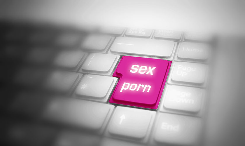 Keyboard with big highlighted SEX PORN button